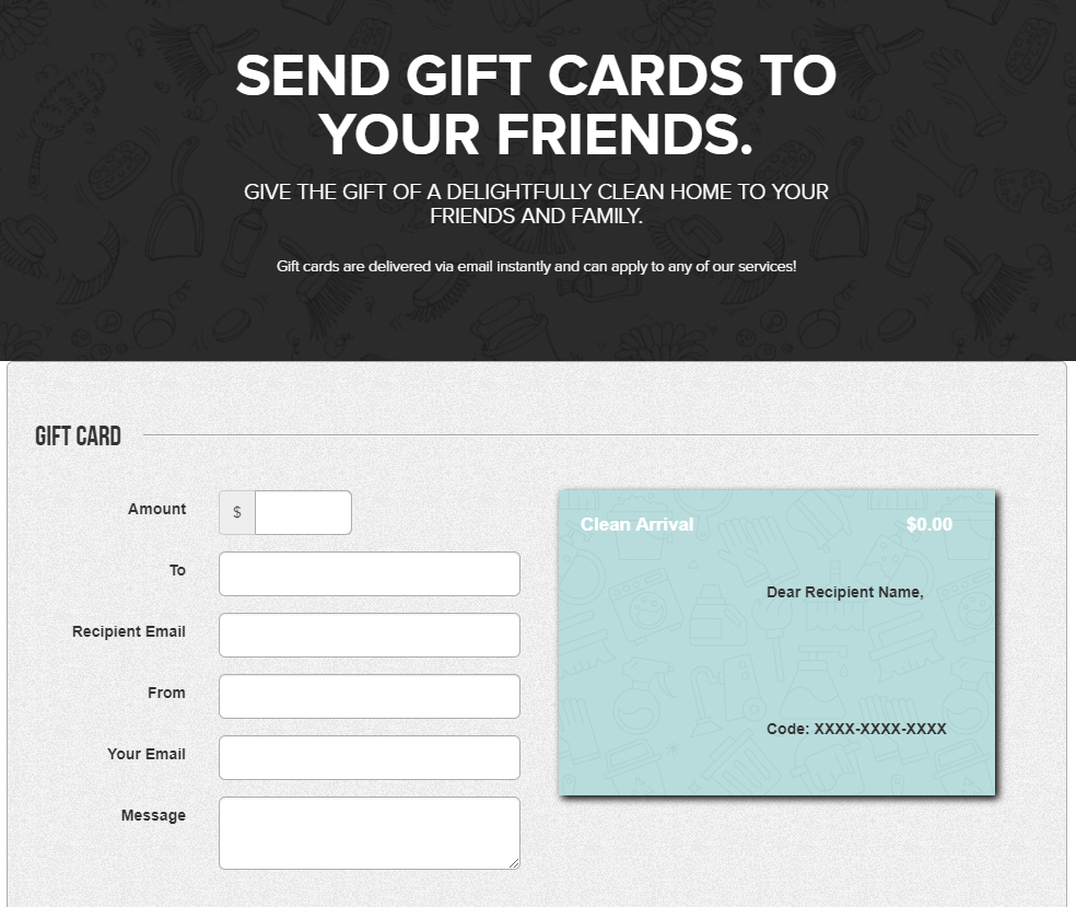 holiday gift card, Holiday Gift Card – Give the Gift of a Clean Home